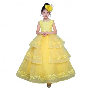 Kids flower girls stage performance dresses yellow color singers princess birthday party celebration pianist dancing photos evening dresses